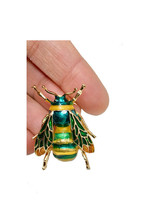 "1.75"" H Brooch Bee, Fly Insect Brooch Pin Yellow & Green Enamel Safety C... - $8.95"