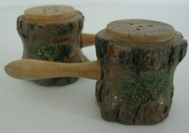 Vintage Souvenir of Morgantown W Va Salt and Pepper Shakers Wooden Tree ... - $12.19