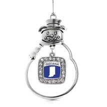 Inspired Silver Indiana Outline Classic Snowman Holiday Christmas Tree Ornament  - $14.69