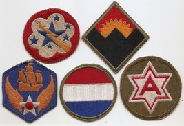 WWII To Korean War Era US Army SSI Starter Set Of Five - $8.00