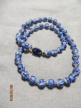 Old Chinese Export White/Blue Symbols Beads /Enamel cloisonne clasp neck... - $29.99