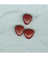 Vintage Glass Beads Red Hearts Gold Flecks Czechoslovakia e In Lot - $4.50