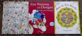 3 books How to Zen Doodle, Zen Patterns and Designs Coloring Book, Livin... - $12.00