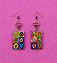 Art Earrings from wood Handmade acrylic painting Kandinsky Gewelry Gift - $18.81