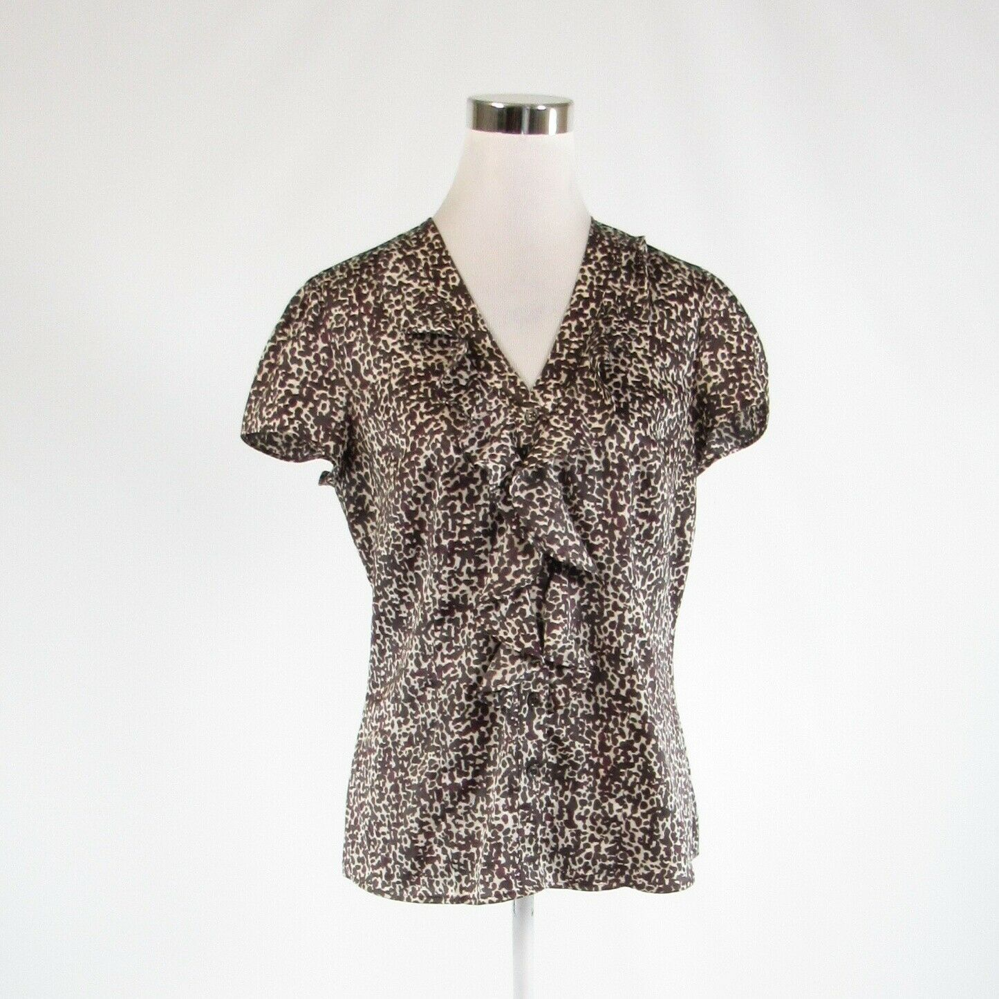 Primary image for Dark brown beige cheetah satin ANN TAYLOR cap sleeve button down blouse 6