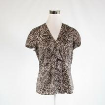 Dark brown beige cheetah satin ANN TAYLOR cap sleeve button down blouse 6 - $24.99