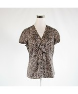 Dark brown beige cheetah satin ANN TAYLOR cap sleeve button down blouse 6 - $24.99