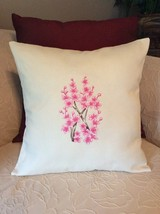 Pillow Cover -  Off White Cover with Pink Embroidered Cherry Blossoms - ... - $24.00
