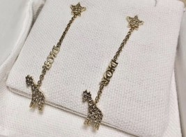 AUTH CHRISTIAN DIOR 2020 WHITE CRYSTAL DIORABLE GIRAFFE GOLD FINISH EARRINGS image 2
