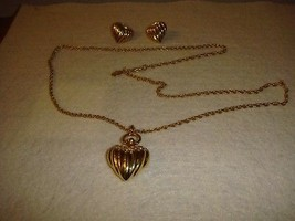 Joan Rivers Ribbed Heart Necklace And Earrings - $25.99