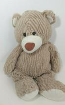 Goffa large plush tan teddy bear ribbed striped cream paws floppy shimmery - $14.84
