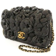 CHANEL Chain Shoulder Bag Lambskin Patent Leather Black Camellia Coco - $4,297.05
