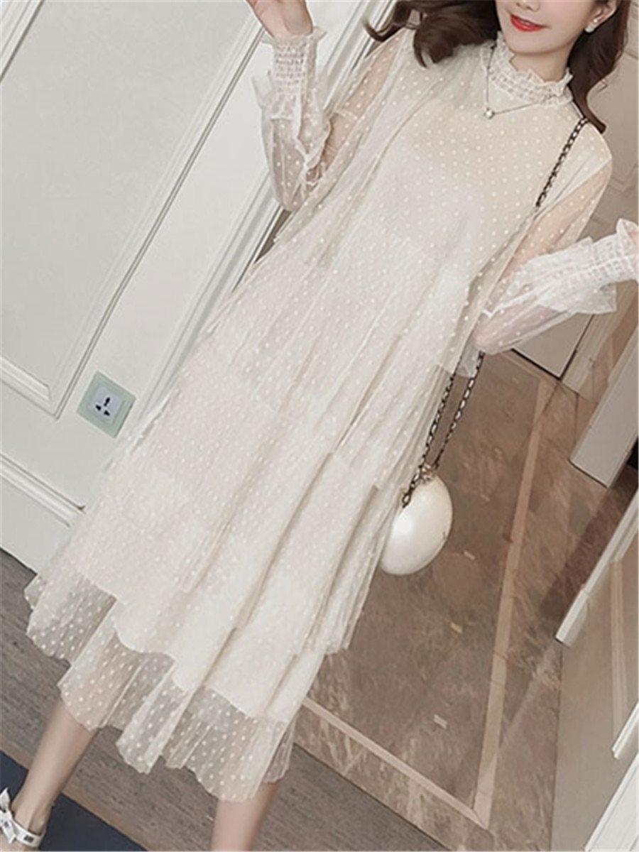 Maternity Dress Long Sleeve Fashionable Layered Dress image 7
