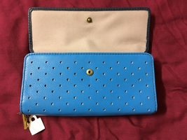 NWT Fossil Jori Blue Navy Leather Wallet Flap Clutch + 25% off your next order* image 3