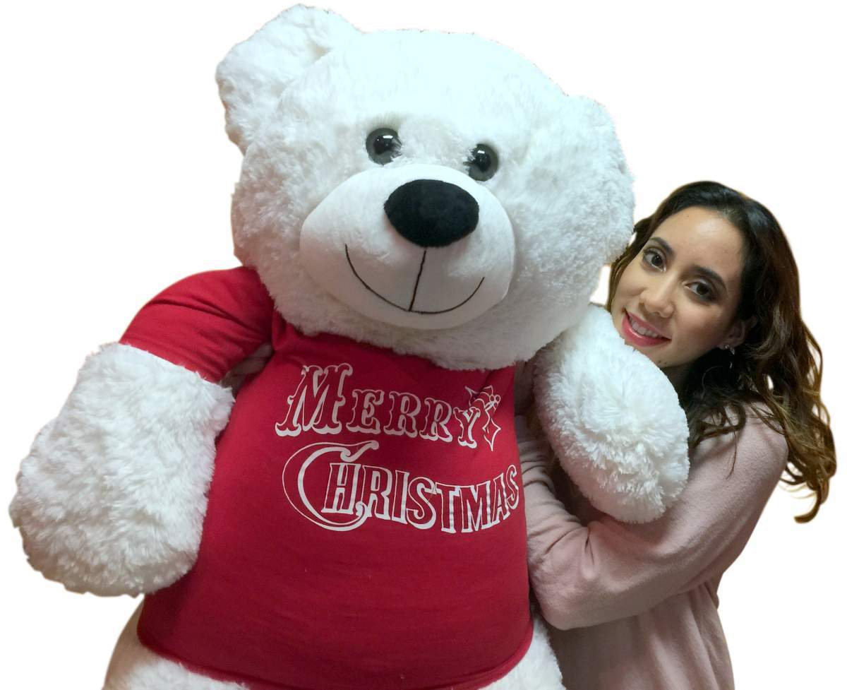Primary image for 52-inch White Teddy Bear Wears Removable Red Tshirt that says Merry Christmas
