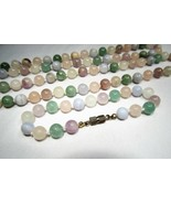 Vintage Pastel Swirly Glass Bead Necklace & Bracelet Set C2555 - $47.31