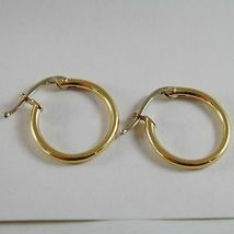 18K YELLOW GOLD EARRINGS LITTLE CIRCLE HOOP 16 MM 0.63 IN DIAMETER MADE IN ITALY image 3