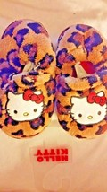 HELLO KITTY GIRL'S 9-10  LEOPARD  PLUSH SLIPPERS NEW - $9.25