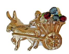 Napier Gold Tone Donkey Flower Cart Wagon Figural Brooch Fruit Salad Rar... - $149.00