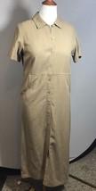 Talbots casual light tan short sleeve shirt style maxi linen Blend dress 10P - $39.55
