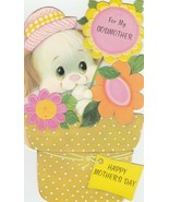 Vintage Mother's Day Card Puppy Dog in Flower Pot Godmother American Greetings - $5.93