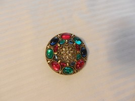 Vintage Corocraft Round Brooch Goldtone with Colored Glass Stones - $185.62