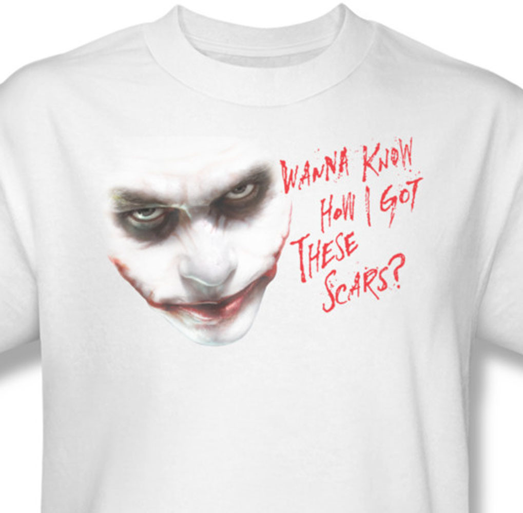 Ics the joker how i got these scars  the dark knight for sale online graphic image tee bm1684 at