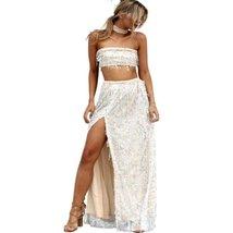 Strapless Sequin Tassels Women Maxi 2 Peice Set Dress - $39.98