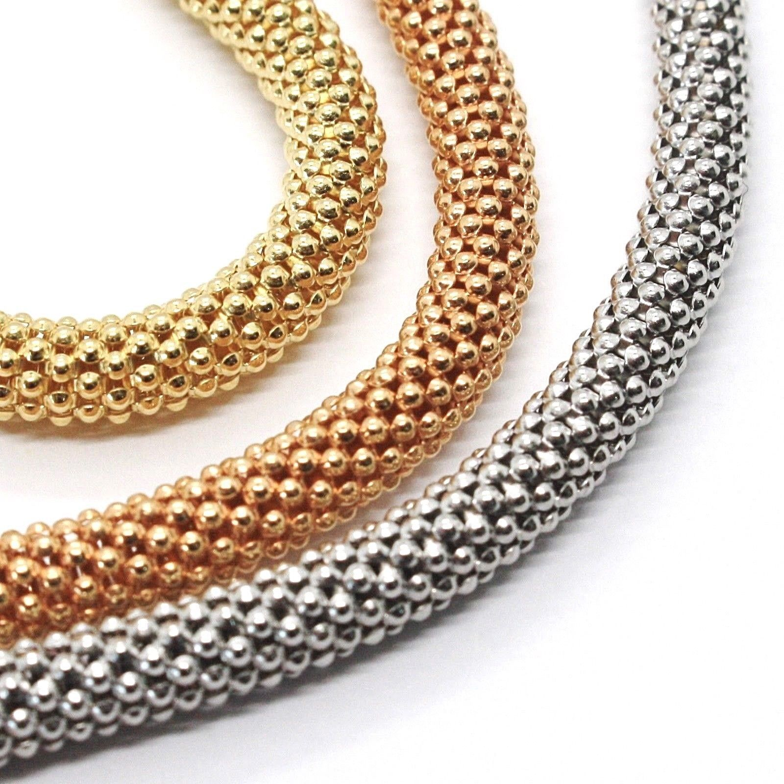 3 18K ROSE YELLOW WHITE GOLD BRACELETS 7.3 INCHES, BASKET WEAVE, 5 MM THICKNESS