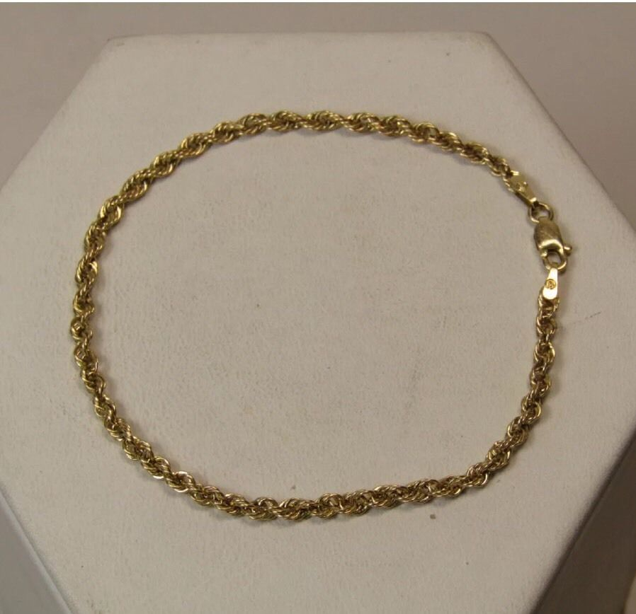 "10k Yellow Gold Jewelry French Rope Twist Chain Bracelet 7 3/8"" Long"
