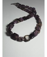 Charoite Rounded Square Bead Necklace 17.5'' Long, 12 x12 mm Beads - $140.00