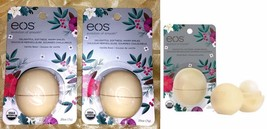 2 EOS VANILLA BEAN ORGANIC SPHERE LIP BALM LIMITED EDITION HOLIDAY LOT S... - $15.81
