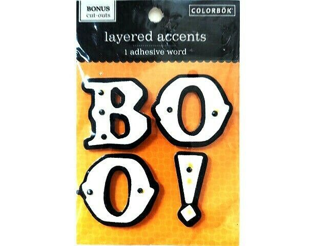 """Colorbok Layered Accents Adhesive Glittered Word """"BOO!"""" #63083A HALLOWEEN!"""