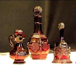 Ruby Red Glass Decanter, Bell and Cruet AA18 -1018  Vintage Collectible 3 piece