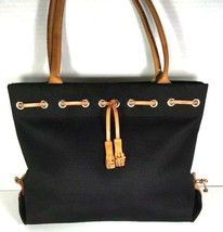 Dooney & Bourke Black Fabric with Tan Leather Trim Tote Shoulder Bag – Well Worn - $23.27