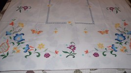 VINTAGE TABLECLOTH FOLK ART FLORAL WITH BUTTERFLIES DESIGN 52X67 INCH - $24.70