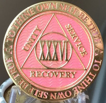 28 Year AA Medallion Pink Gold Plated Alcoholics Anonymous Sobriety Chip... - $17.99