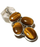 Golden Tigers Eye Oval Natural Gemstone 925 Silver Overlay Handmade Pendant - $11.99