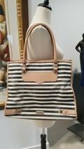 REBECCA MINKOFF LARGE TEXTURED CANVAS & LEATHER STRIPED SHOULDER BAG TOTE - $69.29