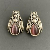 Avon Purple Cats Eye Glass Silver Tone Pierced Earrings Signed NR Dangle... - $19.75