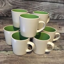 Oneida Color Burst Stoneware Mugs Set Of 8 Kiwi Green Clean Lines Coffee... - $14.01