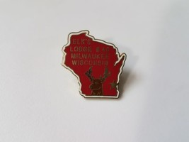 Elks Lodge Pin Milwaukee Wisconsin #46 Lapel Red Enamel Fraternal Organization image 2