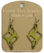 Green Tree Jewelry Ribbon Twirl Apple Green Wooden Laser Cut Earrings #1510 - $9.99