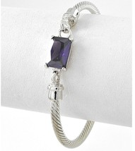 "7.5"" Women Classic Silver Twisted Cuff Bracelet Purple Amethyst Glass Adjustable - $12.34"