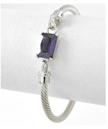 "7.5"" Women Classic Silver Twisted Cuff Bracelet Purple Amethyst Glass Ad... - $12.34"