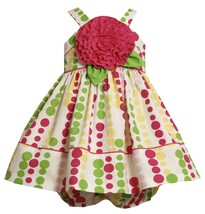Bonnie Baby Baby Girl 3M-9M Pink Green Bubble Dot Rosette Applique Dress
