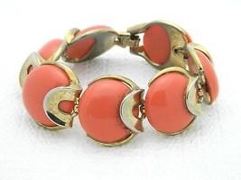 VTG CROWN TRIFARI Mid Century Faux Coral Lucite Gold Tone Bracelet - $39.60
