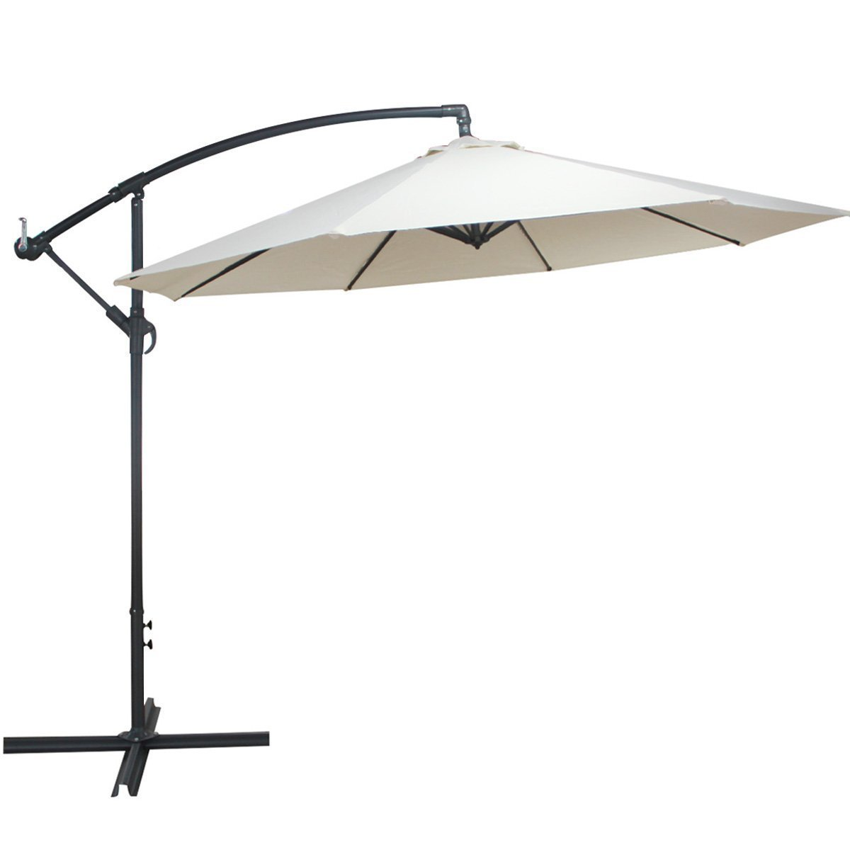 Outdoor 10 Ft Beach Umbrella UV Resistant Hanging Offset Patio Creamy White