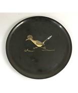 Couroc Monterey Roadrunner Black Serving Tray 10.5 Round Mid Century Mod... - $33.81