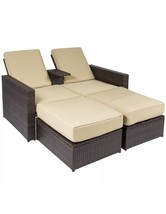 Outdoor 3pc Rattan Wicker Patio Love Seat Lounge Chair Furniture Multi P... - $999.56